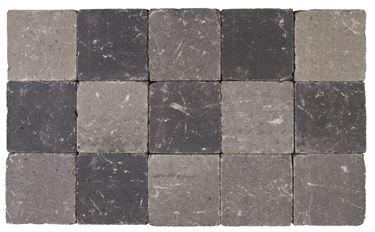 Afbeelding van Getrommelde Bouwpuntklinker grijs-zwart 15x15x6cm